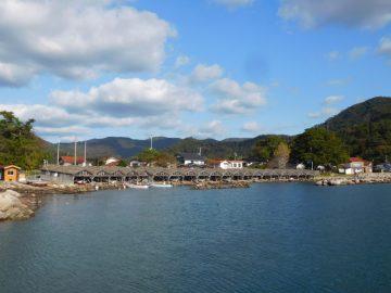 海側から見た舟小屋群