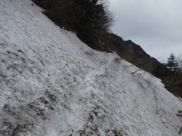今回最も雪が残っていた箇所