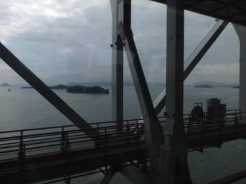 瀬戸大橋上の列車内からの景色