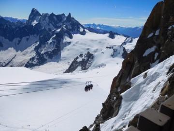 氷河を横断するロープウェイ