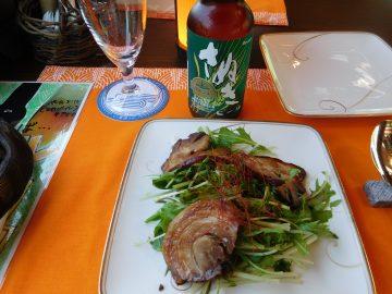 さぬき地ビールと焼豚サラダ