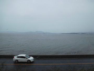 国道9号線と宍道湖