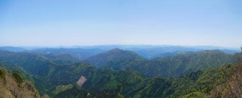 手箱山山頂からの南方面のパノラマ
